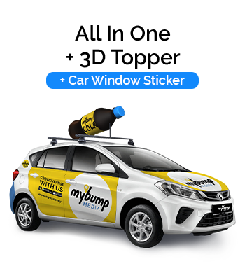 All in One Car Wrap with 3D Topper and Car Window Sticker
